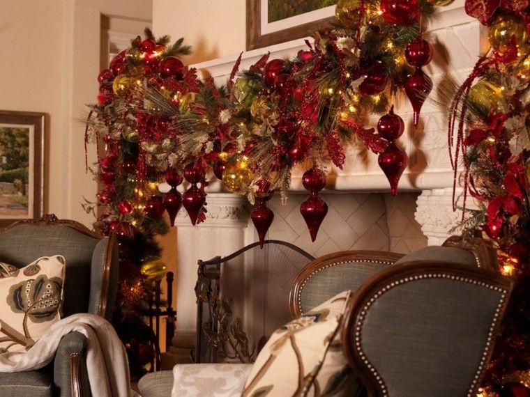 decoracion navidad estilo americano chimenea guirnalda salon ideas