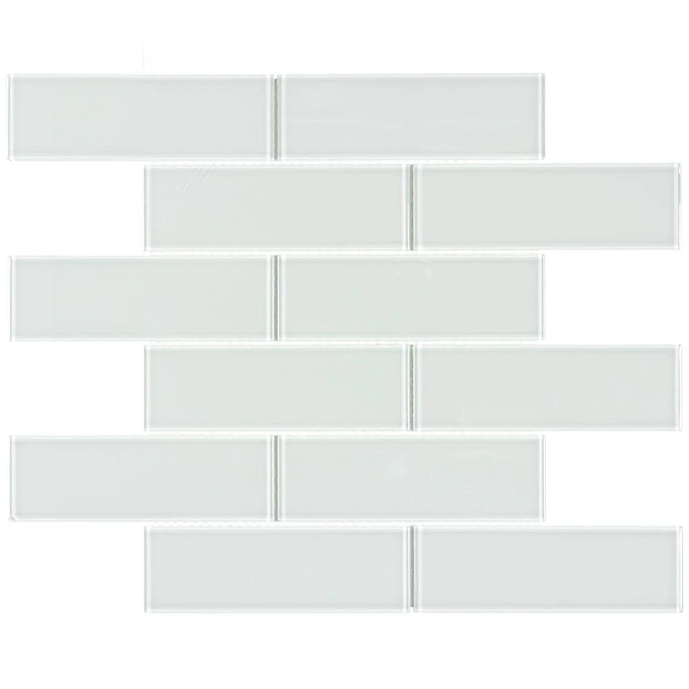 Glass Subway Tile Metropole White 2x6 #whitesubwaytilebathroom