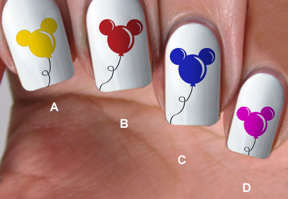 Disney Summer Style With Mickey Balloon Nail Decals - Disney Summer Style With Mickey Balloon Nail Decals Nail Decals