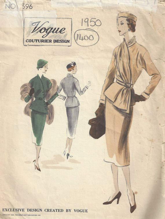 1950 Vintage VOGUE Sewing Pattern B40 SUIT DRESS Skirt Jacket Scarf ...