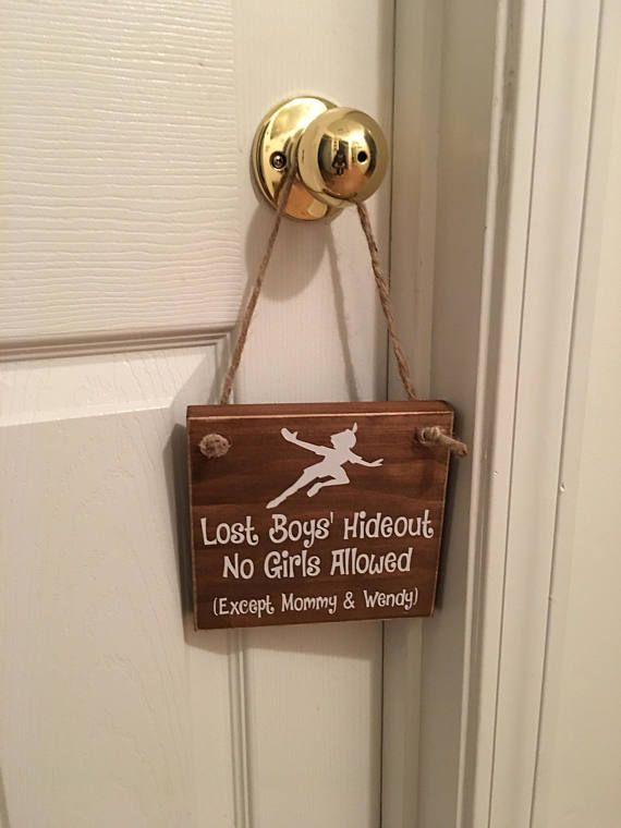 Photo of Adorable Rustic Lost Boys' Hideout No Girls Allowed  With  Wooden Door Sign for Little Boys Room / Nursery
