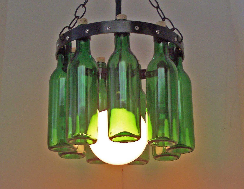 Petite Wine bottle Chandelier Emerald Green Wrought Iron