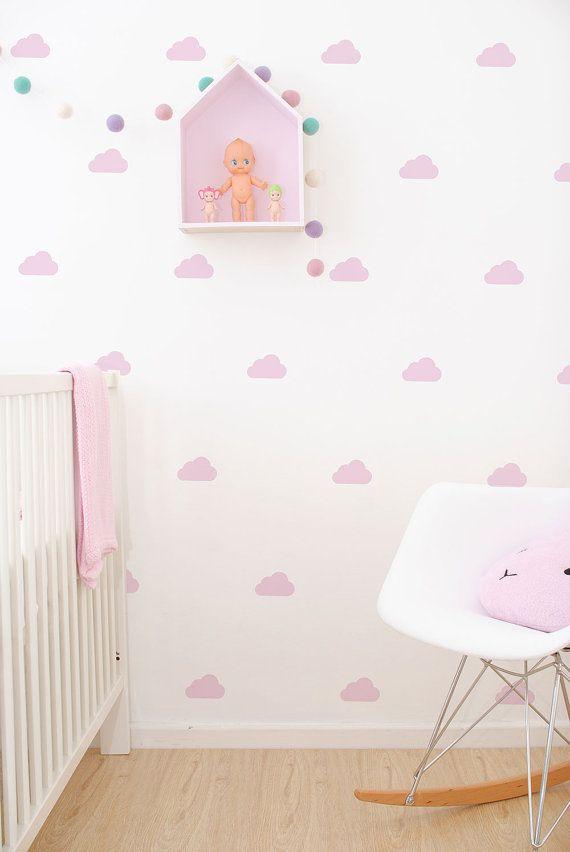 Nubes de color rosa pastel la pared pegatinas vinilo for Decoracion de la habitacion de nina rosa
