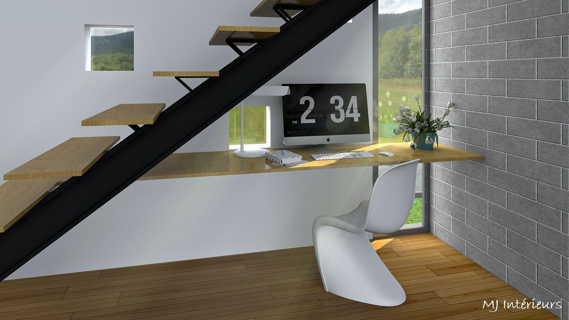 bureau sous l'escalier dans villa d'architecte  design