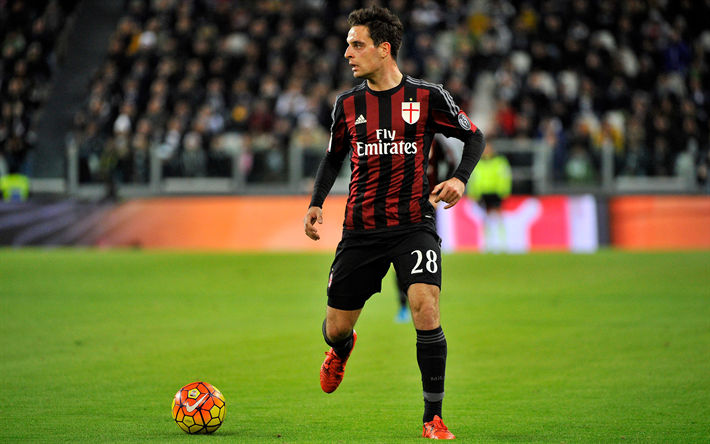 Lataa kuva Giacomo Bonaventura, 4k, jalkapalloilijat, Milan, keskikenttäpelaaja, Serie, jalkapallo, AC Milan