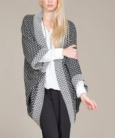 Another great find on #zulily! Black & White Round-Hem Open Cardigan #zulilyfinds