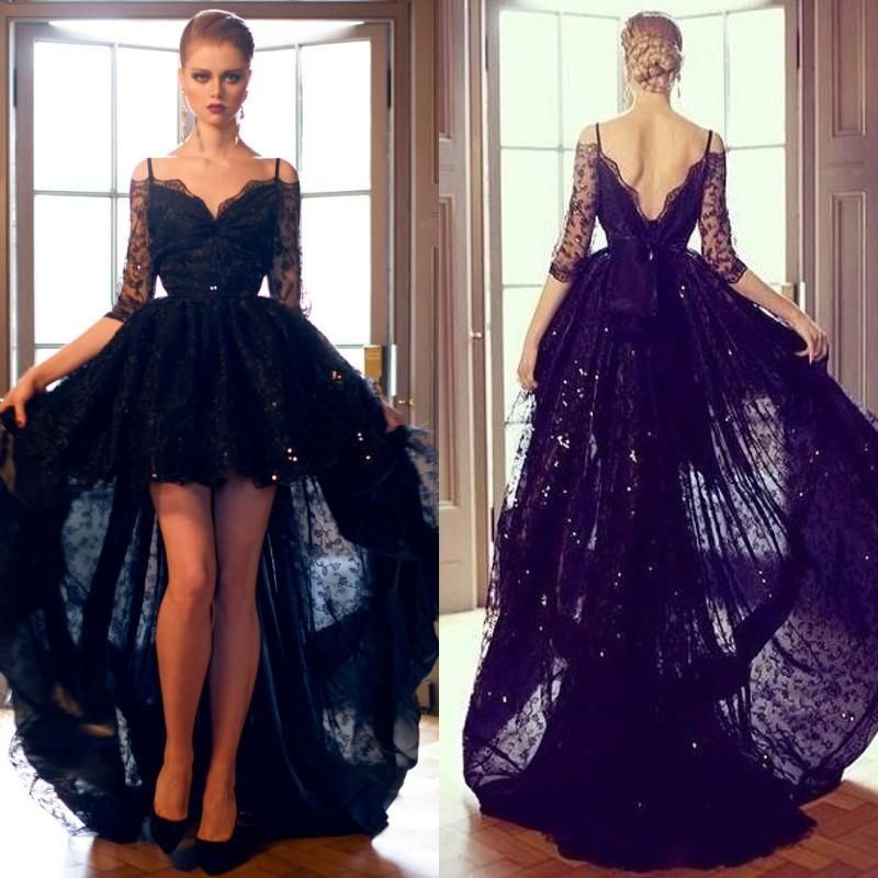 Sexy Black Lace High Low Formal Evening Prom Dresses Off Shoulder