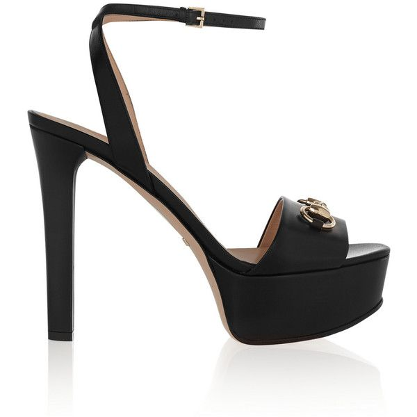 Gucci Horsebit-detailed leather platform sandals ($560) ❤ liked on Polyvore featuring shoes, sandals, heels, gucci, black strappy sandals, black sandals, black leather sandals, black heeled sandals and high heel sandals