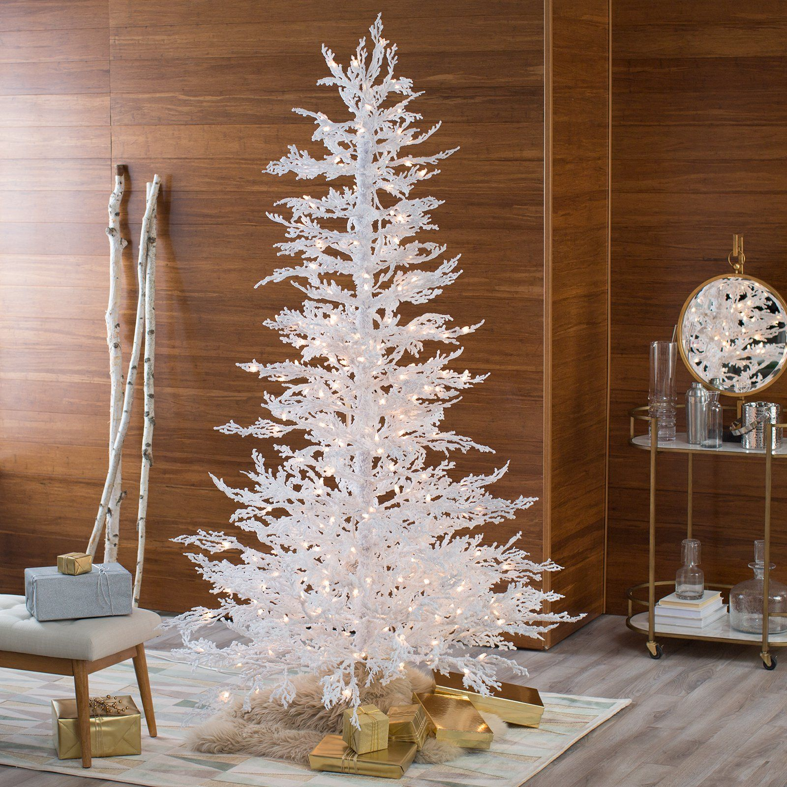 Sterling Tree Company Flocked White Twig Tree Pre Lit Full