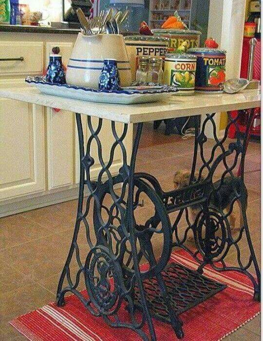 sewing machine turned into kitchen island cool stuff in 2019 old sewing machines sewing