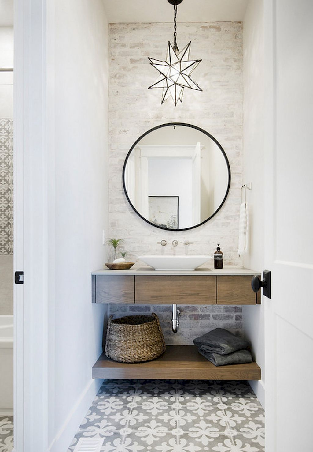 I Like The Floor Tile And The Brick Under Thr Sink Maybe This Is