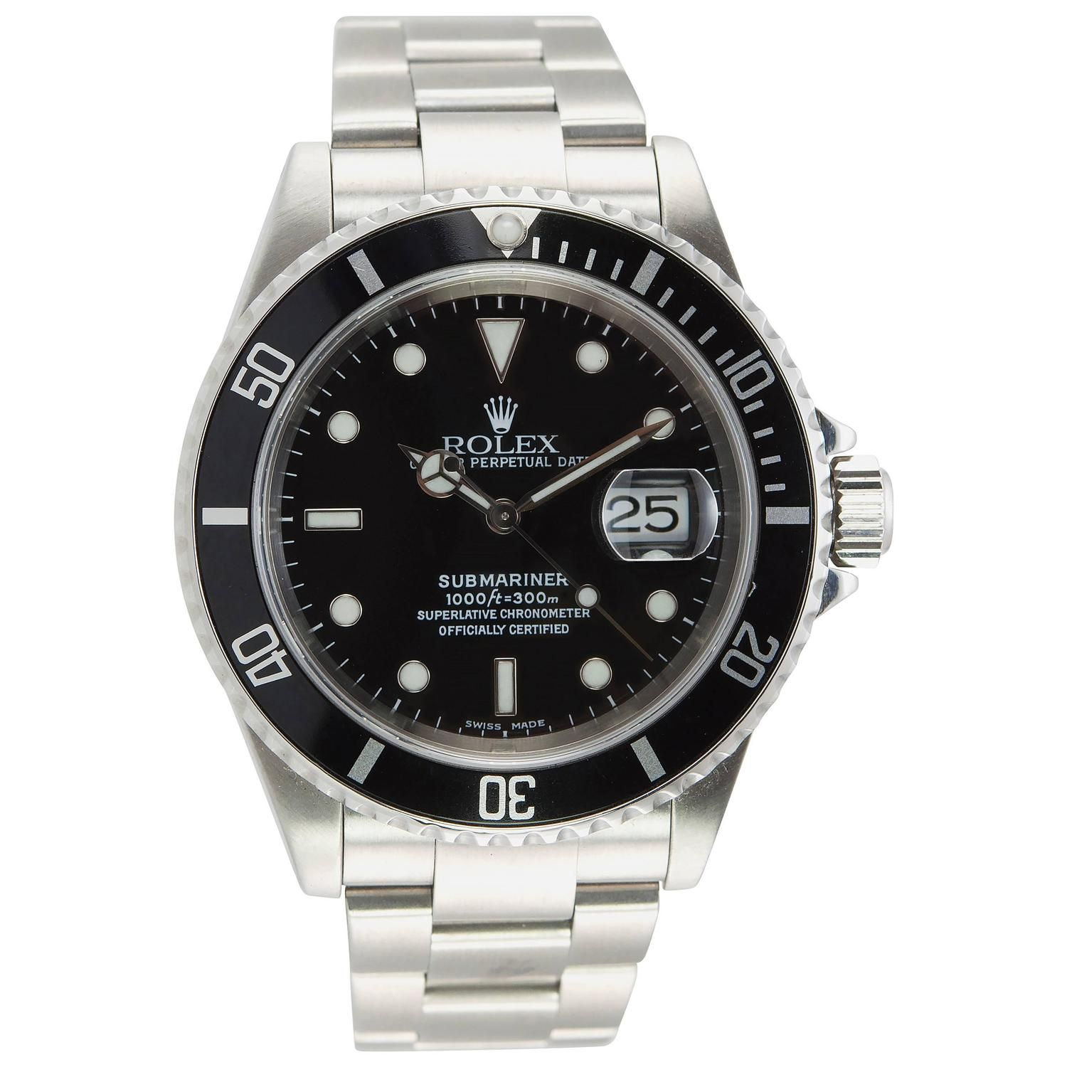 Rolex Stainless Steel Submariner Wristwatch Ref 16610 #stainlesssteelrolex