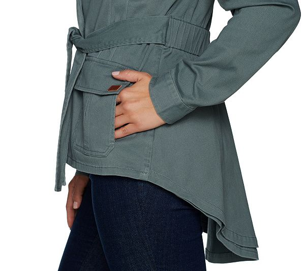 Peace Love World Belted Military Jacket W Back Peplum De Military Jacket Qvc And Military