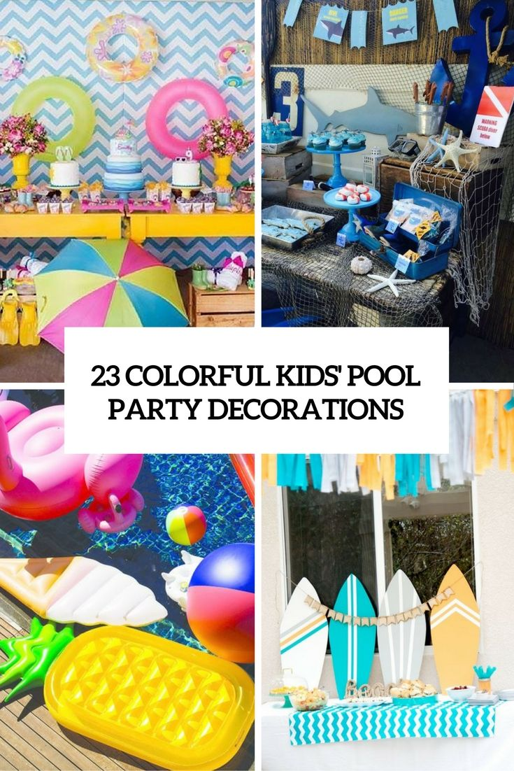 colorful kids pool party decorations cover | party~decorating