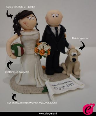 ...ele-ganza...: cake topper #matrimonio personalizzato #customcaketopper #caketopper #toppercake #topcake #weddingidea #weddingcake #wedding #bride #weddingcaketopper #sopratorta #cakedesign #cakeidea #caketop #fimo #clay #clayproject #clayminiature #dog www.ele-ganza.it