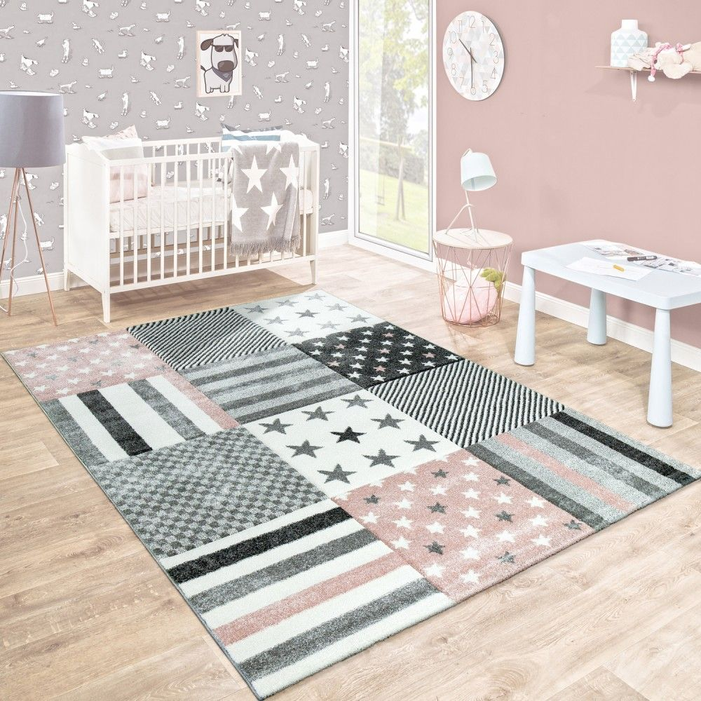 Kinderzimmer Einrichten Beige Rosa: Kinderteppich Stern Design Pastell Rosa Grau