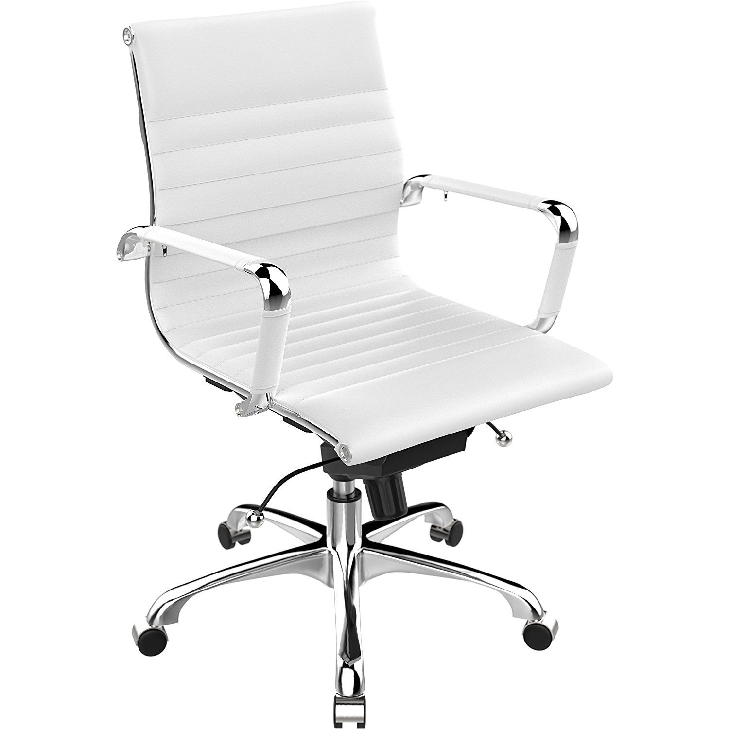 Poly And Bark Eames Style Ag Management Office Chair In Vegan Leather White Home Kitchen