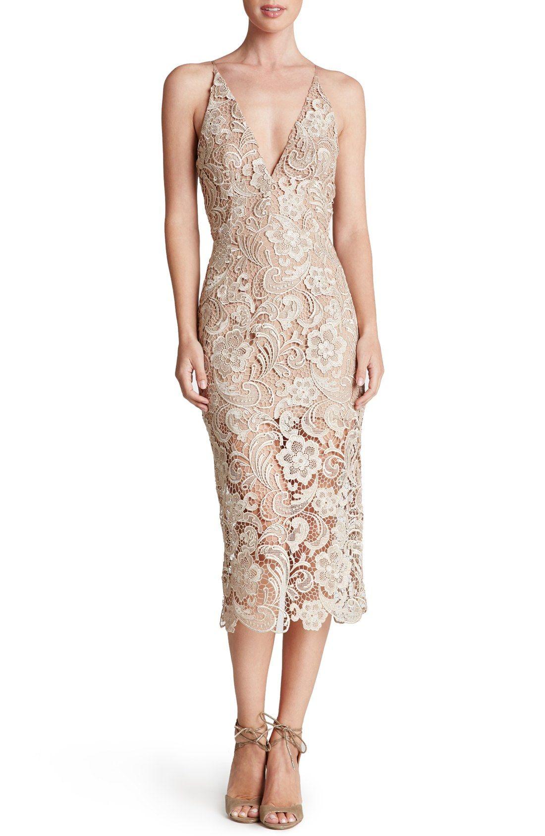 Nordstrom dresses wedding guest  Dress the Population uMarieu Lace Midi Dress  Nordstrom  Fashion