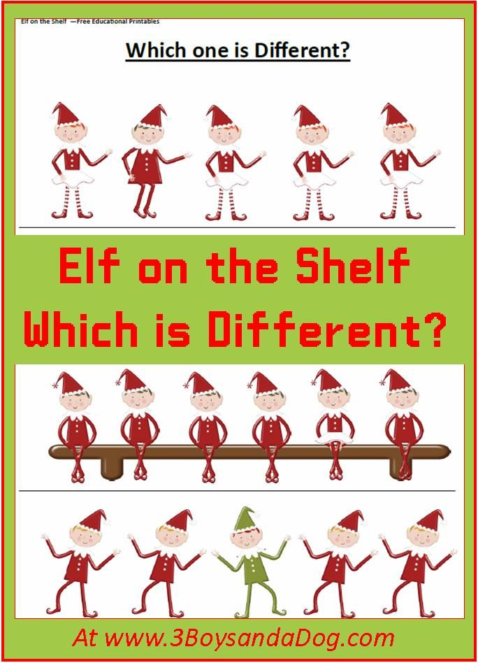 Christmas Printable Worksheets Which Elf Is Different Christmas Worksheets Christmas Printables Preschool Christmas Christmas worksheets for toddlers age 2