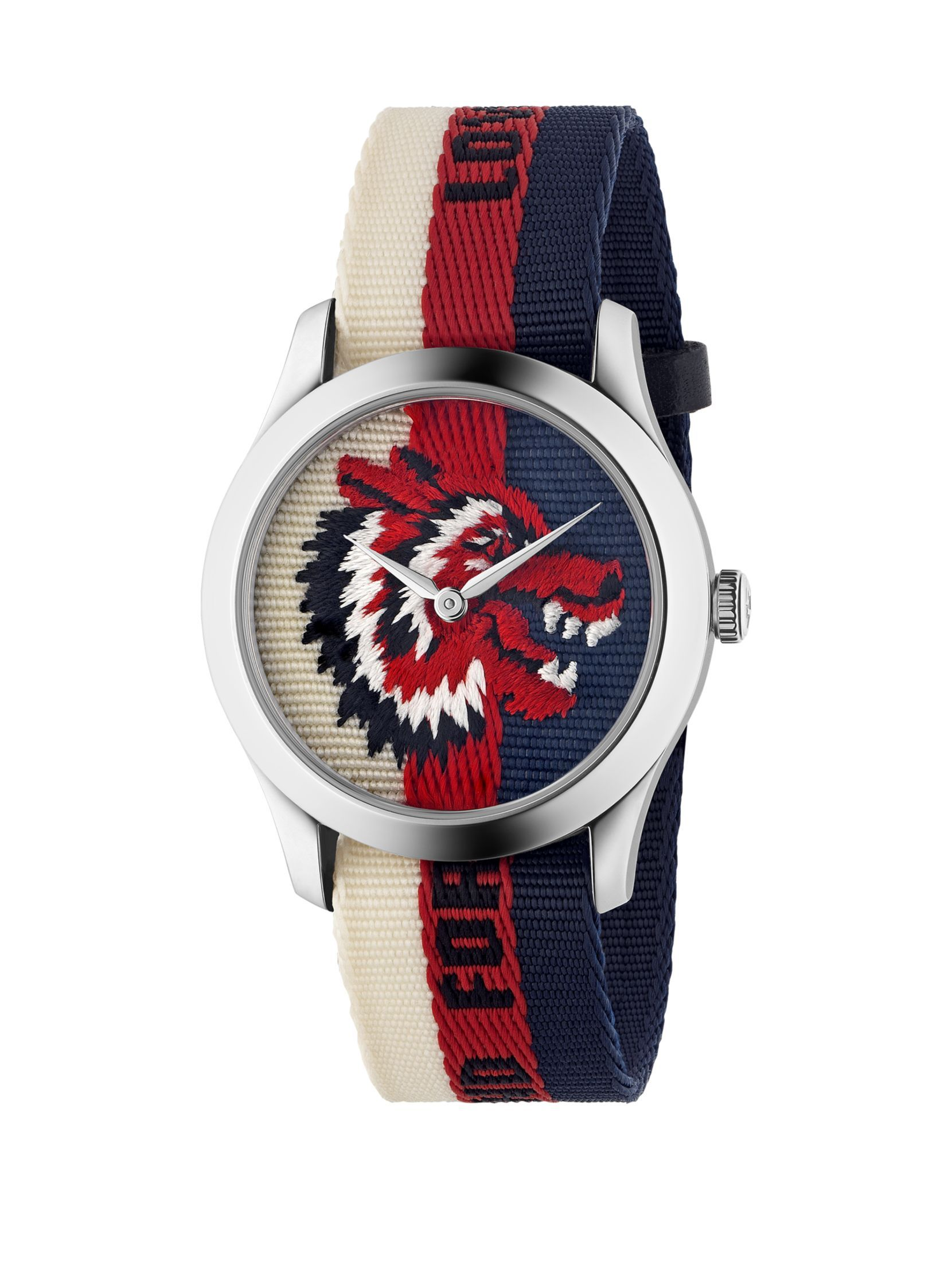 2e1c57fcd8e Gucci Wolf Stainless Steel   Striped Nylon Strap Watch