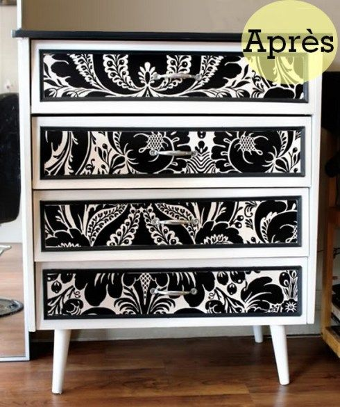 avant apr s transformer un meuble en m lamine avec du papier peint dresser paint furniture. Black Bedroom Furniture Sets. Home Design Ideas