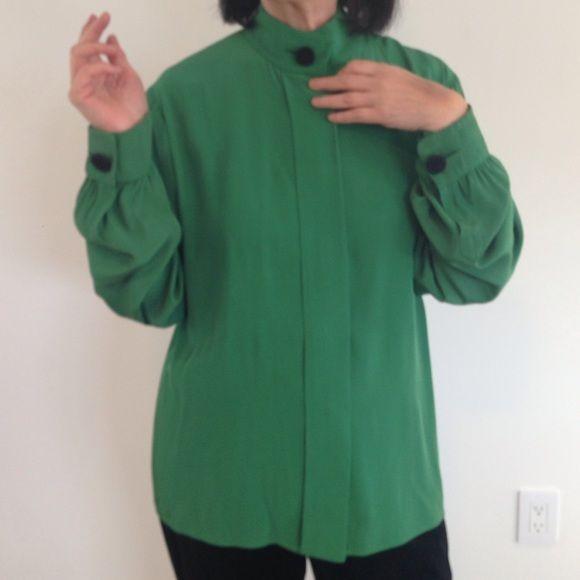 Yves Saint Laurent green vintage blouse Just needs dry cleaning Yves Saint Laurent Tops Blouses