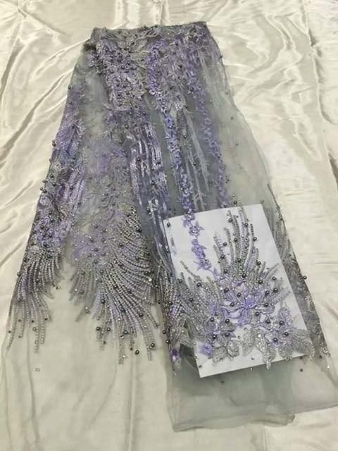 2018 New style French beads lace fabric, African mesh lace fabric high quality for party dress 5yards/lot Nigerian #nigeriandressstyles