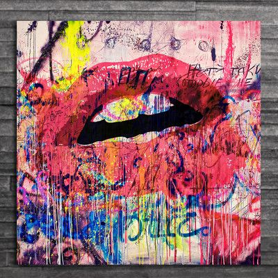 Fluorescent Palace Acrylic Lips Graphic Art On Wrapped Canvas Size 24 H X 24 W X 2 D Graphic Art Art Graphic Art Print