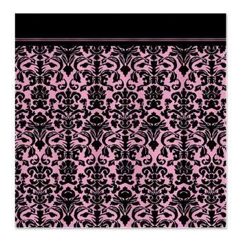 Pink And Black Gothic Girly Damask Shower Curtain