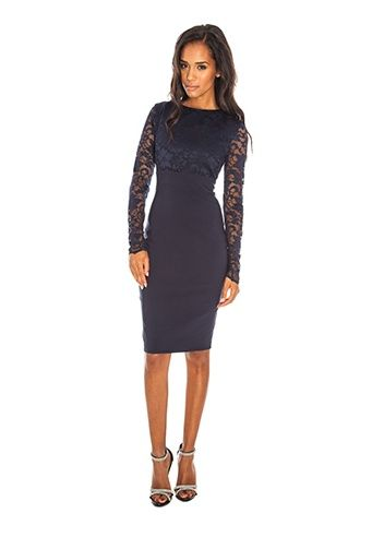 d54277fa57d65c London Long Sleeve Navy Lace Pencil Dress