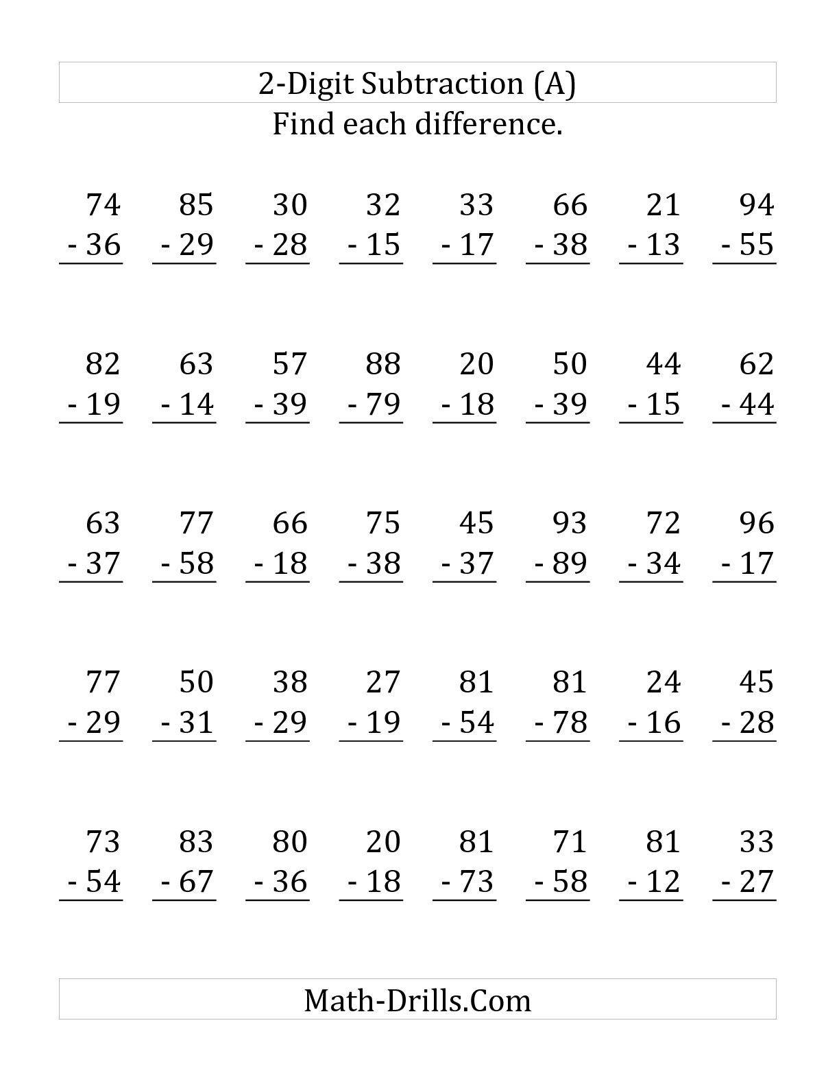 20 Worksheets Subtracting 2 Digit Numbers Math Worksheets