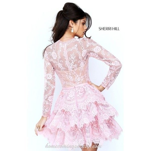Sherri Hill 50686 Blush Lace Layers Homecoming Dress Short 2016 ❤ liked on  Polyvore featuring dresses