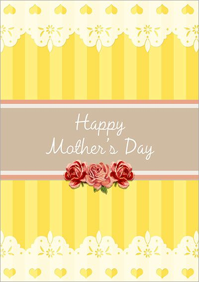 Vintage Roses Yellow Card 006 Mothers Day Cards Mother S Day Printables Free Printable Cards