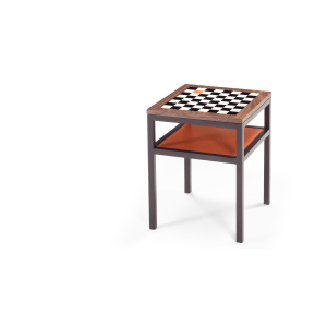 Lovely Contrast Chess Walnut Side Table   Made.com