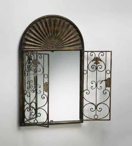 Large arched french garden gate wall mirror tuscan arch for Window scroll function