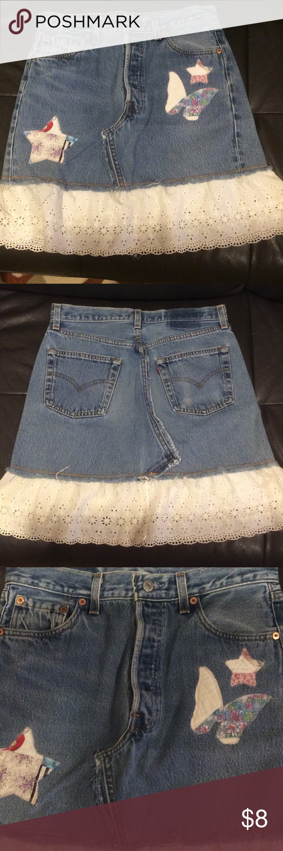 Riley denim embellished skirt Riley brand denim embellished skirt, size small, button closure, no rips, tears or holes, 15 inch flat waist, 19 inch length from top button to bottom hem of skirt, eyelet white bottom embroidery hem (see pictures) Riley Skirts