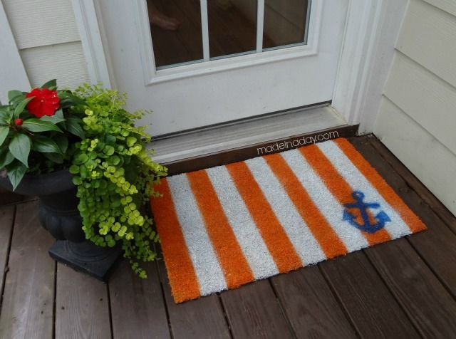 Painted Rug Makeover Cabana Style stripes