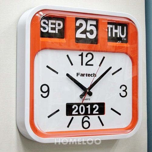 Fartech Retro Modern 17 Quot Big Time Calendar Flip Wall Clock