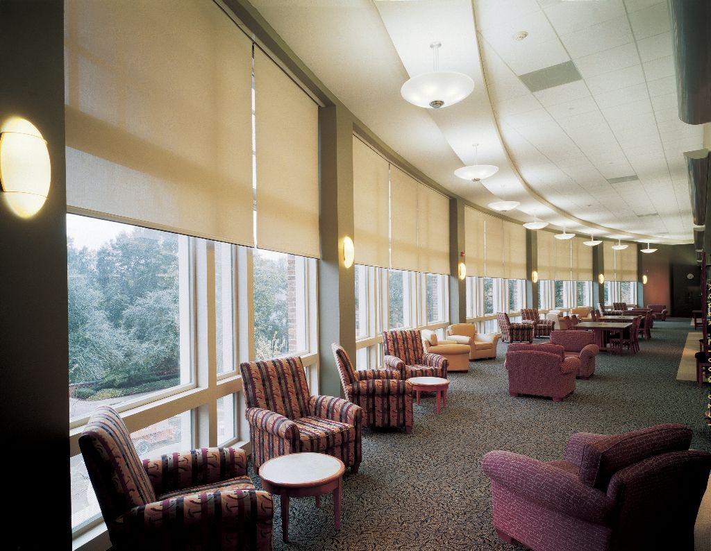 Hospitality and hotel window treatments sheer shades solar screen - Lutron Motorized Window Coverings