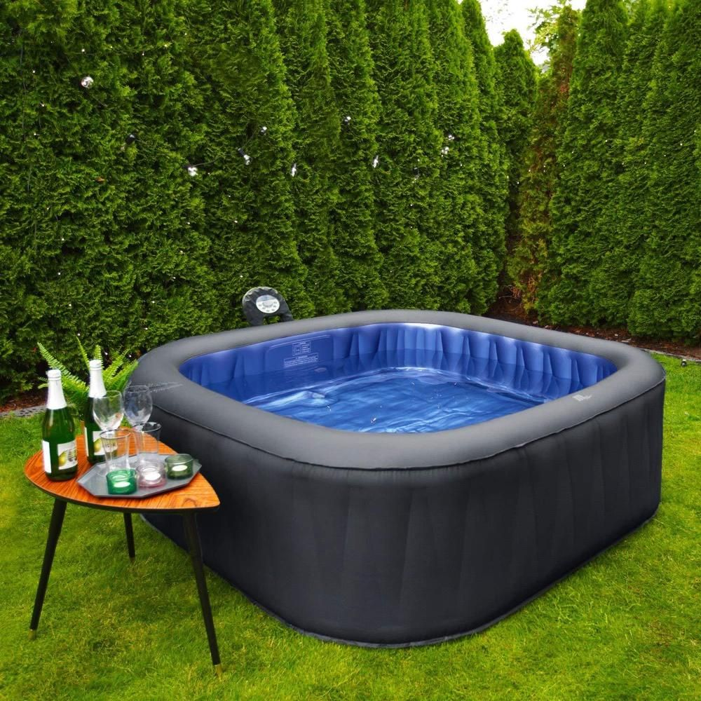 6 Persons Inflatable Hot Tub Hydrotherapy Outdoor Portable Jacuzzi