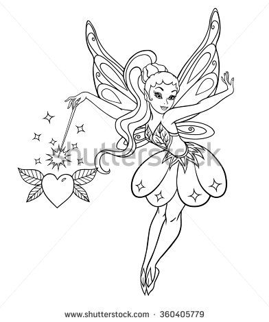 Outlined Beautiful Fairy With Sparkles Magic Wand And Winged