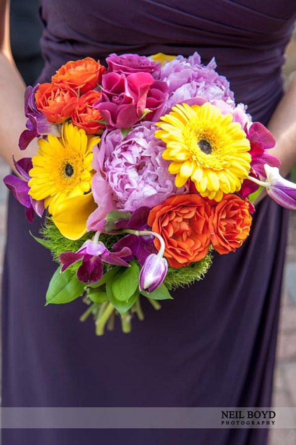 Purple bridesmaid dresses and colorful flower bouquet. Raleigh ...