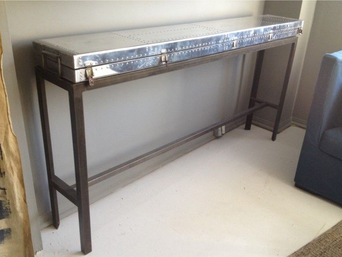 Riveted Console Table Industrial Console Table Slim Console