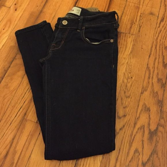 Jeans Very dark rinse skinny jeans. Very stretchy and comfortable. Great condition. Size 3 short (26W, 29L). Hollister Jeans Skinny