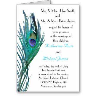 Pfau-Hochzeits-Einladungs-Schablone Karte | Hochzeit-wedding ...