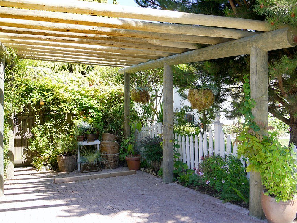 Wood carport with planters carport pinterest car for Carport landscaping ideas