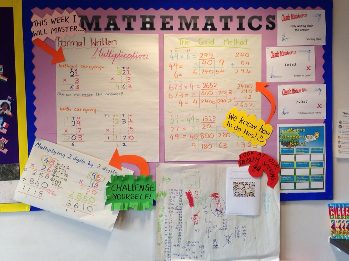Classroom Ideas Year 7 ~ Maths working wall for year top set grid method and
