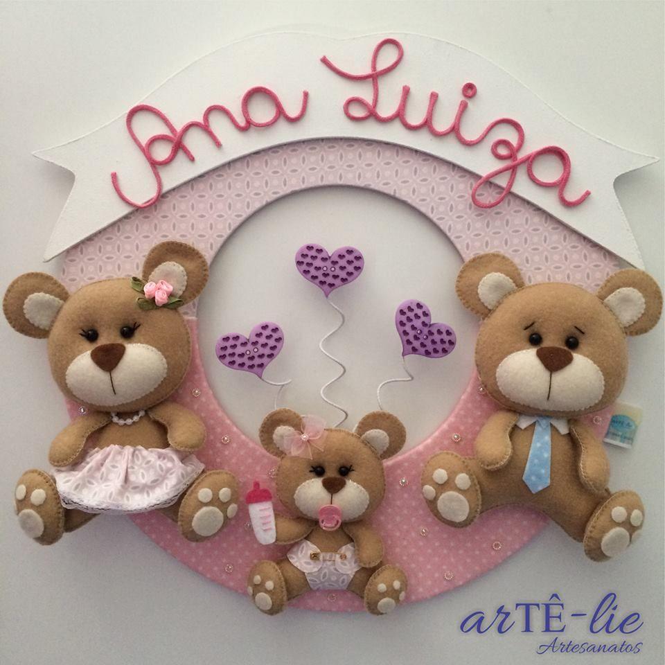 """Enfeite De Feltro ~ Enfeite porta maternidade Tema""""Família Urso"""" Seja bem vinda Ana Luiza! #feltro #felt #mdf #"""