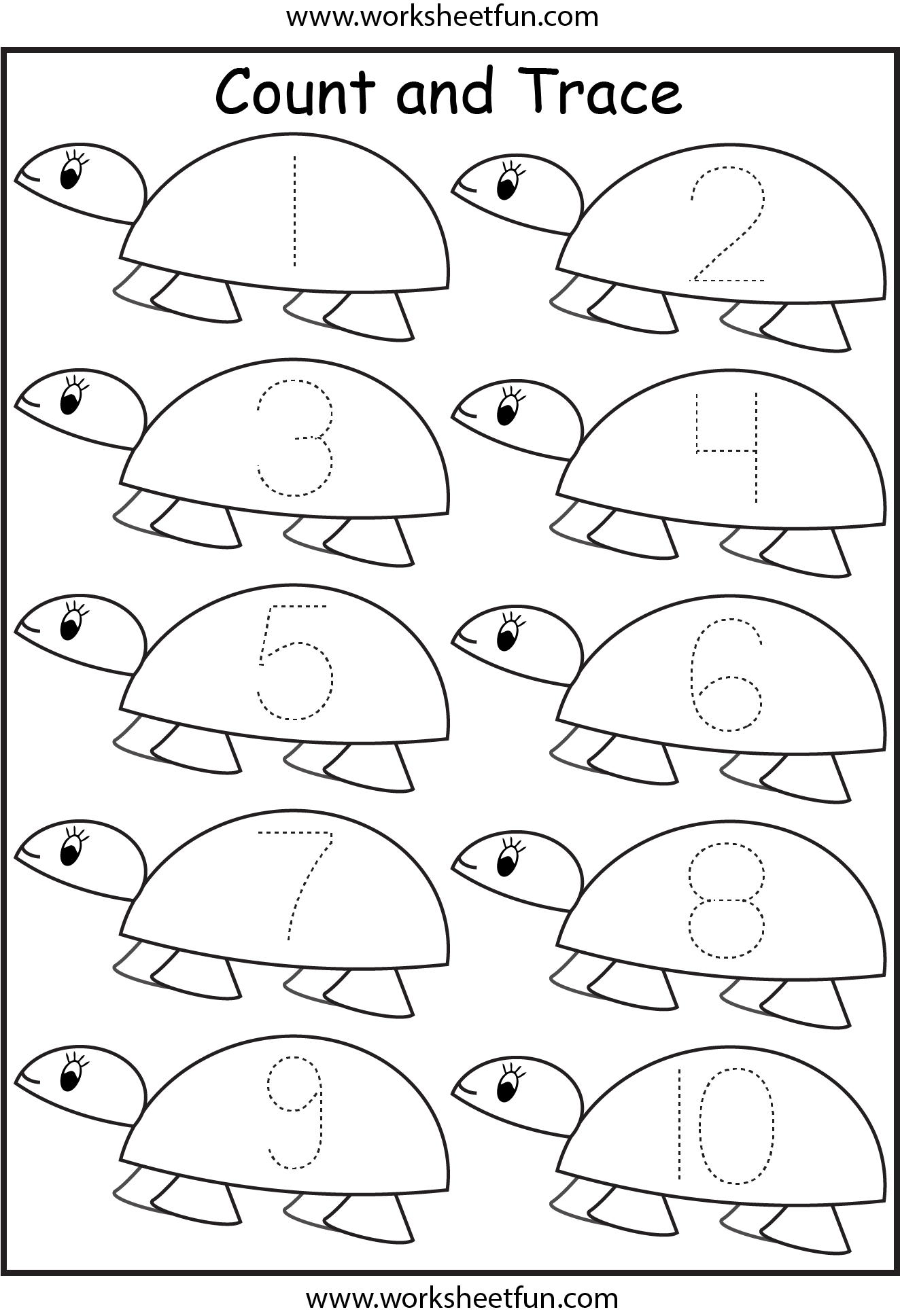 Number Tracing Worksheets For Kindergarten 110 Ten