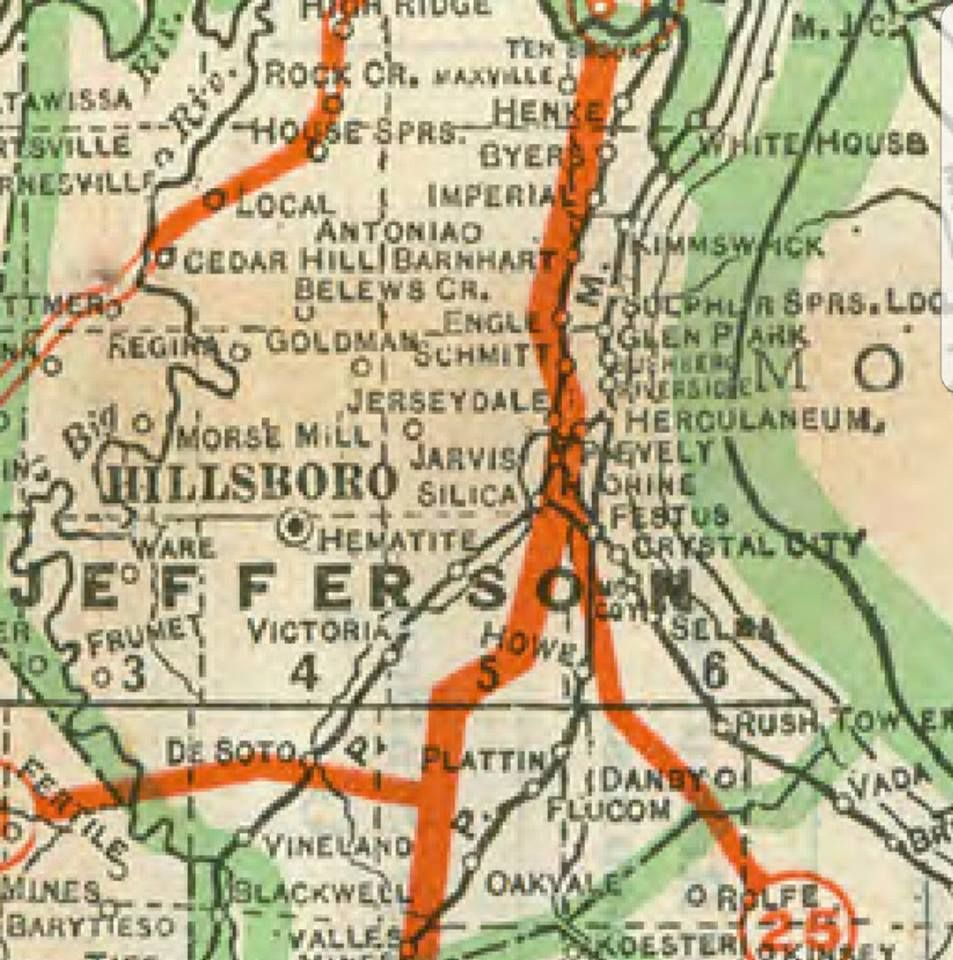 State road map of Jefferson county MO 1918 Jefferson County